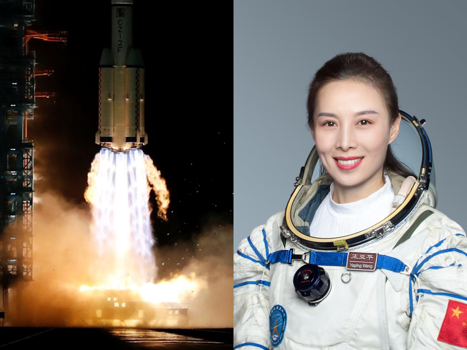 神舟十三号载送3名太空人升空,中国女太空人王亚平将进驻太空站,也将出舱进行任务。 路透、中新社(photo:AppleDaily)