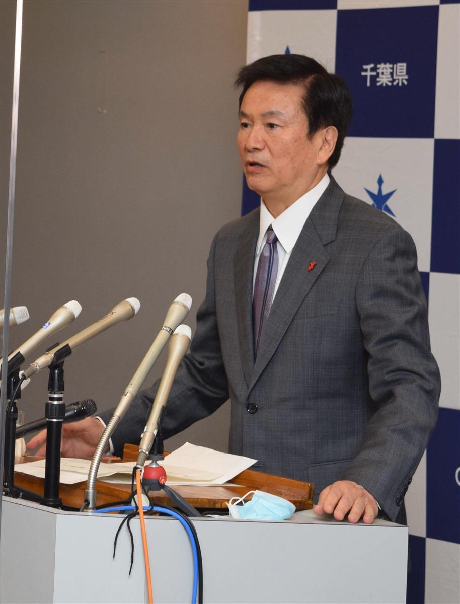 緊急事態宣言の延長に関し、記者団の取材に応じる森田健作知事=5日、県庁(小野晋史撮影)