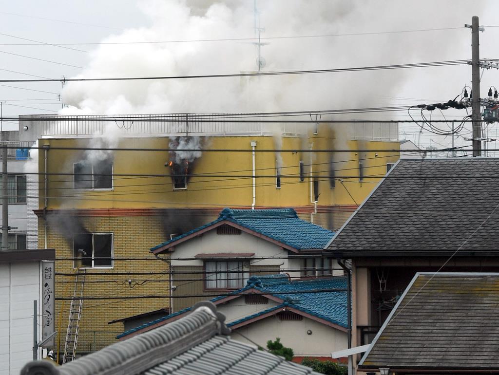 火事が起こったアニメスタジオ=18日午前、京都市伏見区(永田直也撮影)