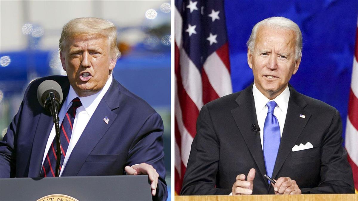 20日、選挙集会で演説するトランプ大統領(左、AP)と民主党大統領候補指名の受諾演説をするバイデン前副大統領(ロイター)