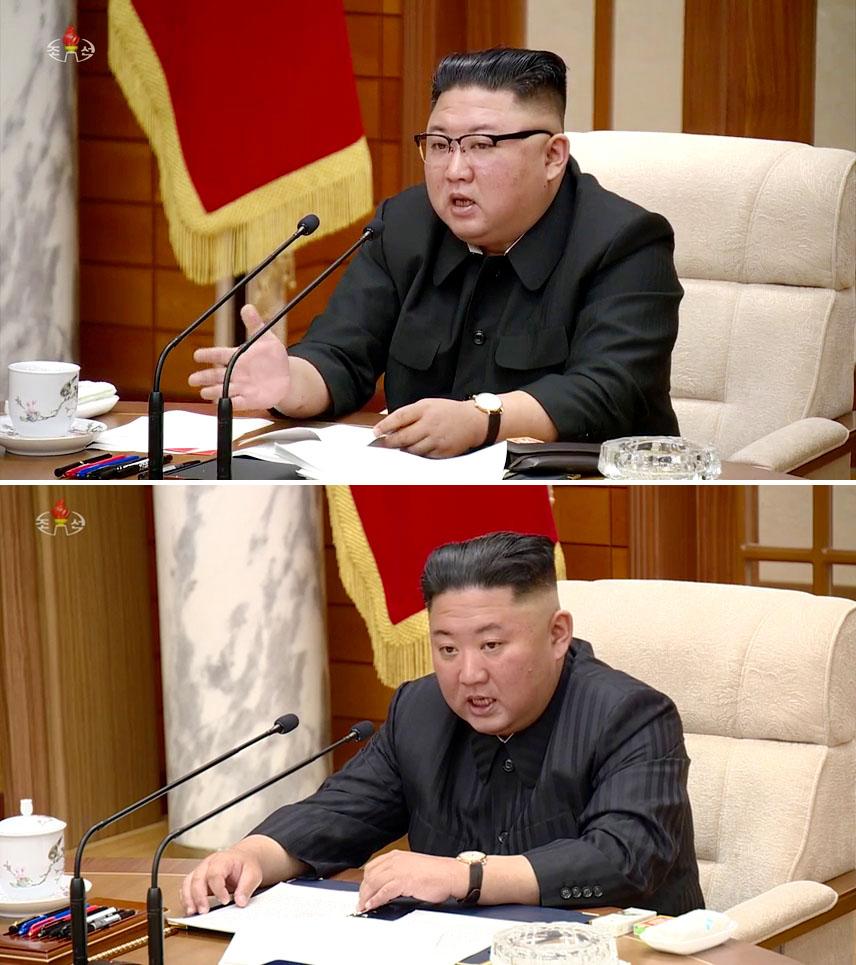 北朝鮮の朝鮮中央テレビが2020年11月(上)と今月5日に放映した金正恩氏(共同)