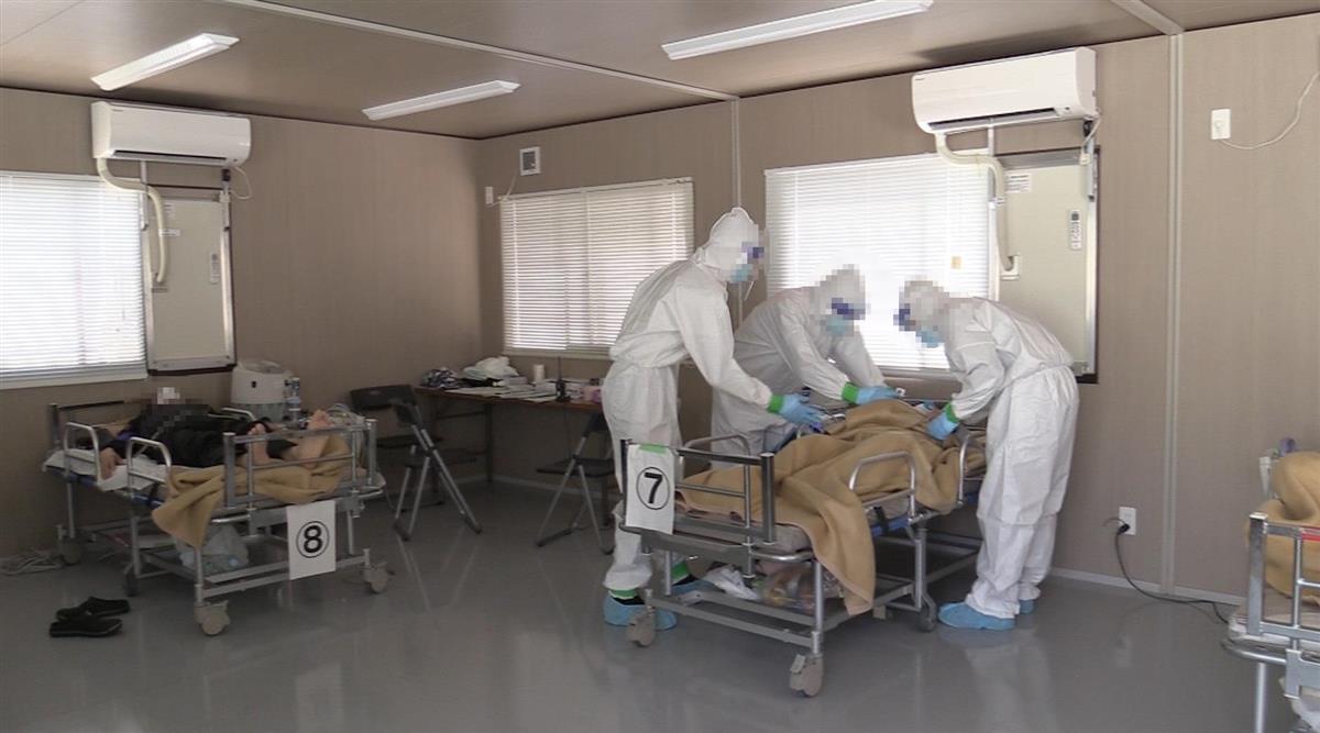 大阪府の新型コロナウイルス患者の「入院患者待機ステーション」の内部(大阪府撮影)