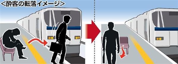 線路に向かって設置されたかつてのベンチ(左)では、酔客が立ち上がり、そのまままっすぐ歩いて線路に転落してしまう。しかし、90度回転させたベンチ(右)だとこの種の転落事故が防げる―という発想で、JR西日本などが工事を進めている