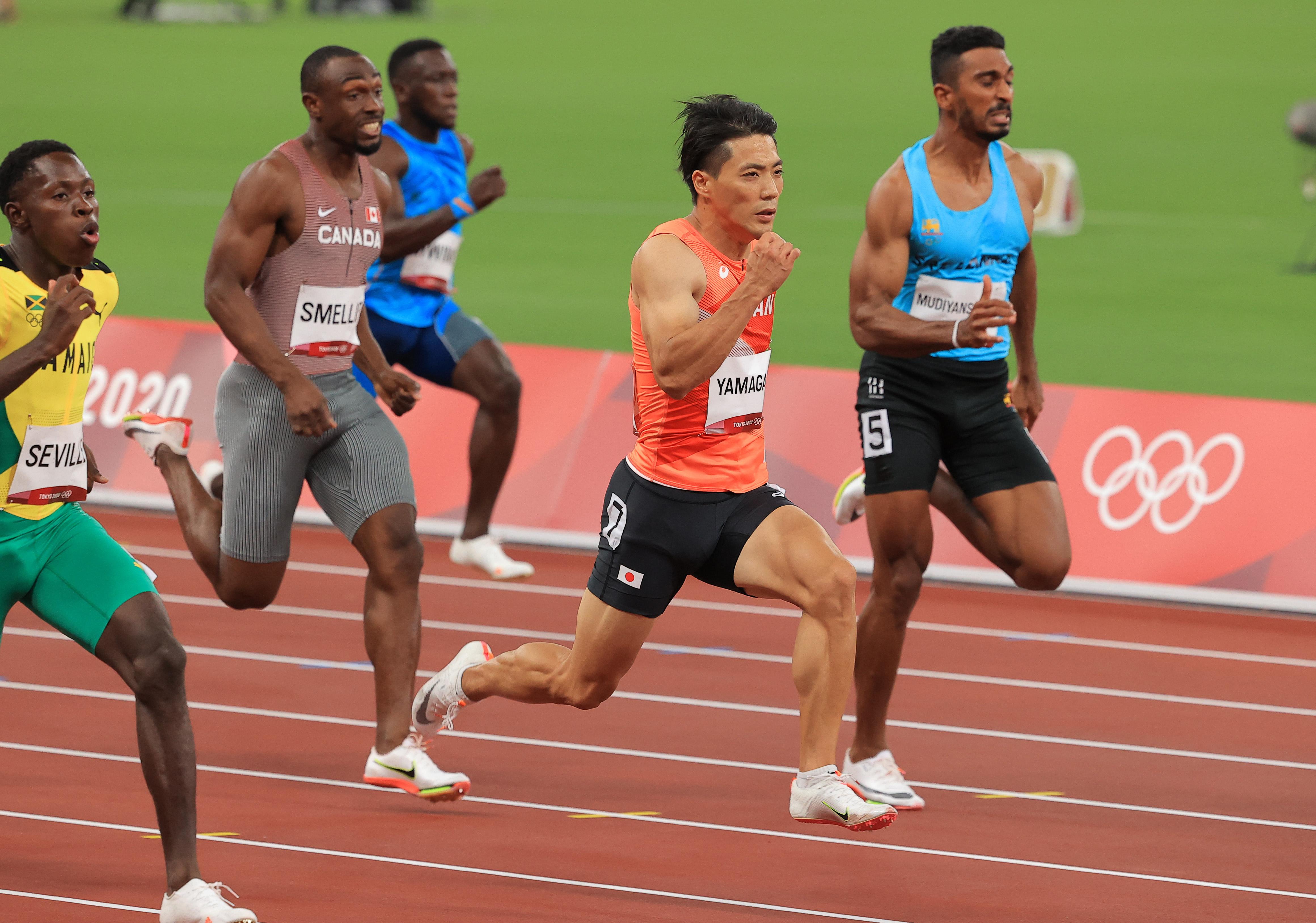 【東京五輪2020 陸上競技・男子100メートル】予選3組目で4着の山県亮太=国立競技場(撮影・松永渉平)
