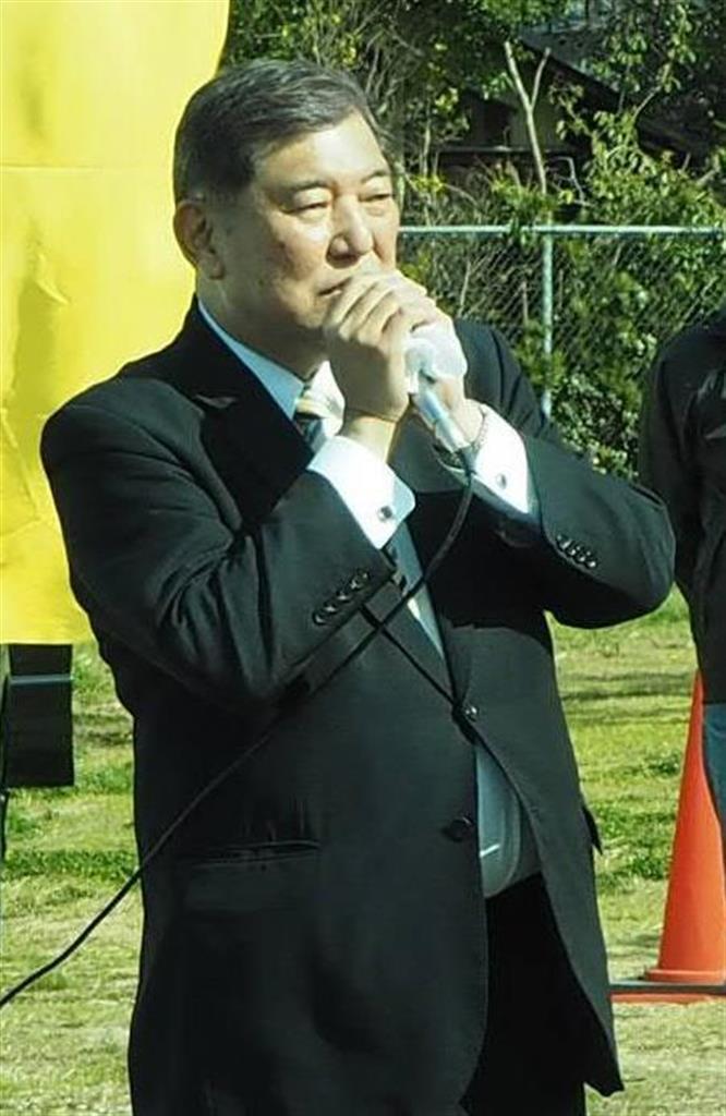 自民党の石破茂元幹事長=31日、滋賀県野洲市