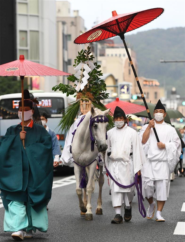 御神霊渡御祭では、祭神を移した榊を白馬の背に乗せて、八坂神社から御旅所まで巡行が行われた=17日午後、京都市下京区(永田直也撮影)