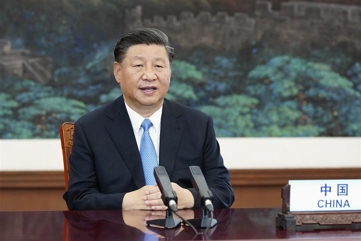 国連総会一般討論で放映されたビデオで演説する中国の習近平国家主席=9月22日(新華社=共同)