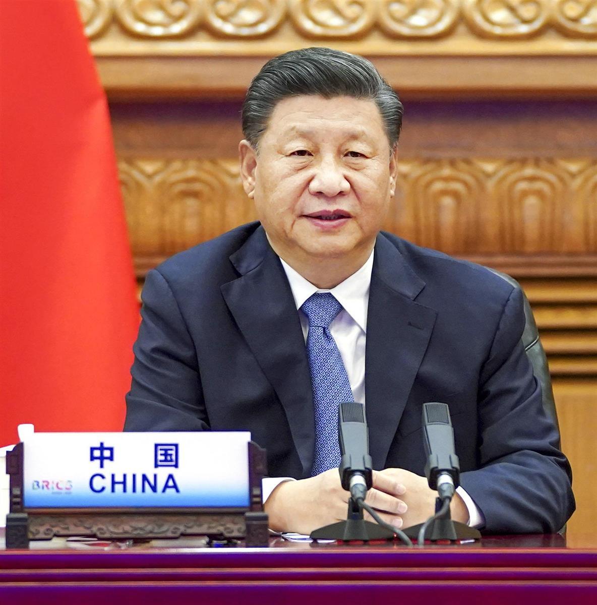 中国の習近平国家主席=17日、北京(新華社=共同)