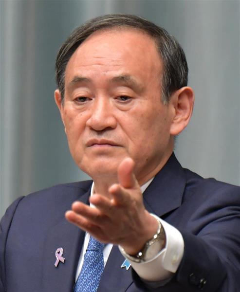 記者会見する菅義偉官房長官=10日午後、首相官邸(斎藤良雄撮影)