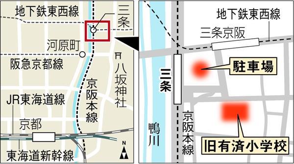 京阪本線の三条駅付近