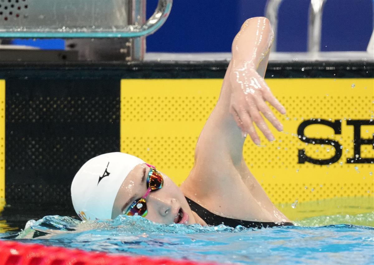 女子50メートル自由形予選、予選を終えた池江璃花子=東京アクアティクスセンター(撮影・恵守乾)