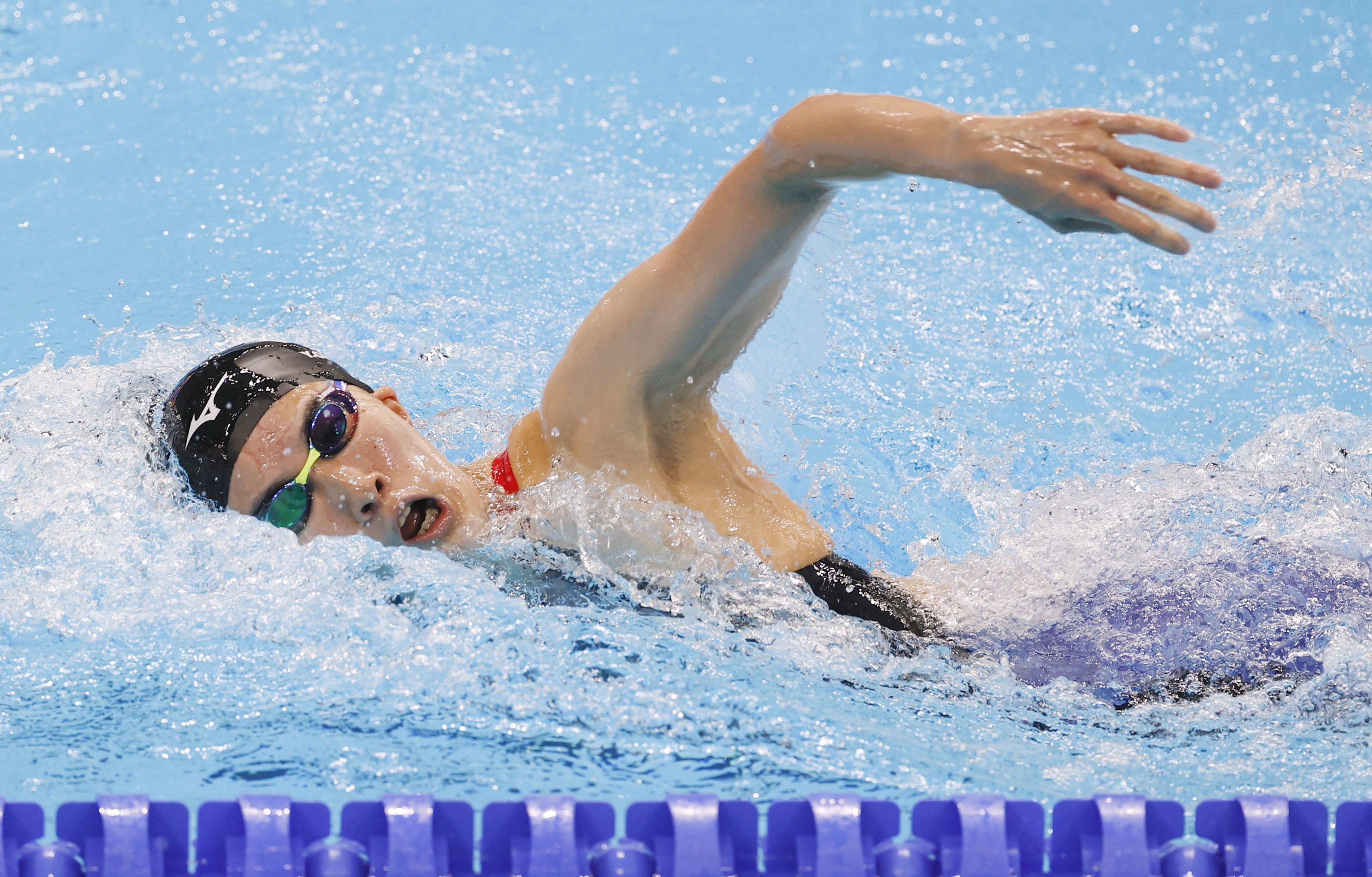 女子200メートル個人メドレー準決勝 大橋悠依の自由形=東京アクアティクスセンター