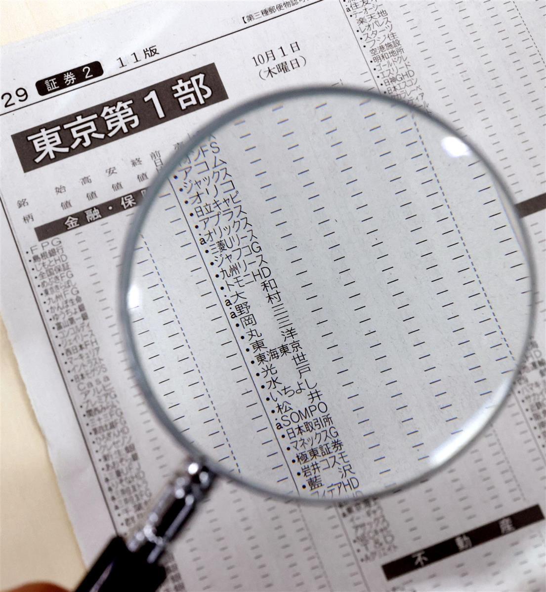 東京証券取引所での株式全銘柄の売買停止で、株価が記載されていない2日付朝刊の新聞紙面=2日午前