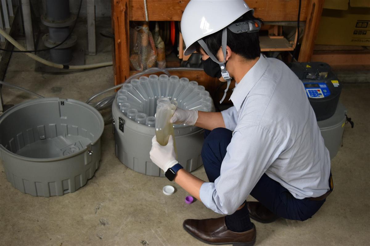新型コロナウイルスの感染状況を把握するため、塩野義製薬と北海道大学が共同で大阪府内の下水処理場で行っている調査(塩野義製薬提供)