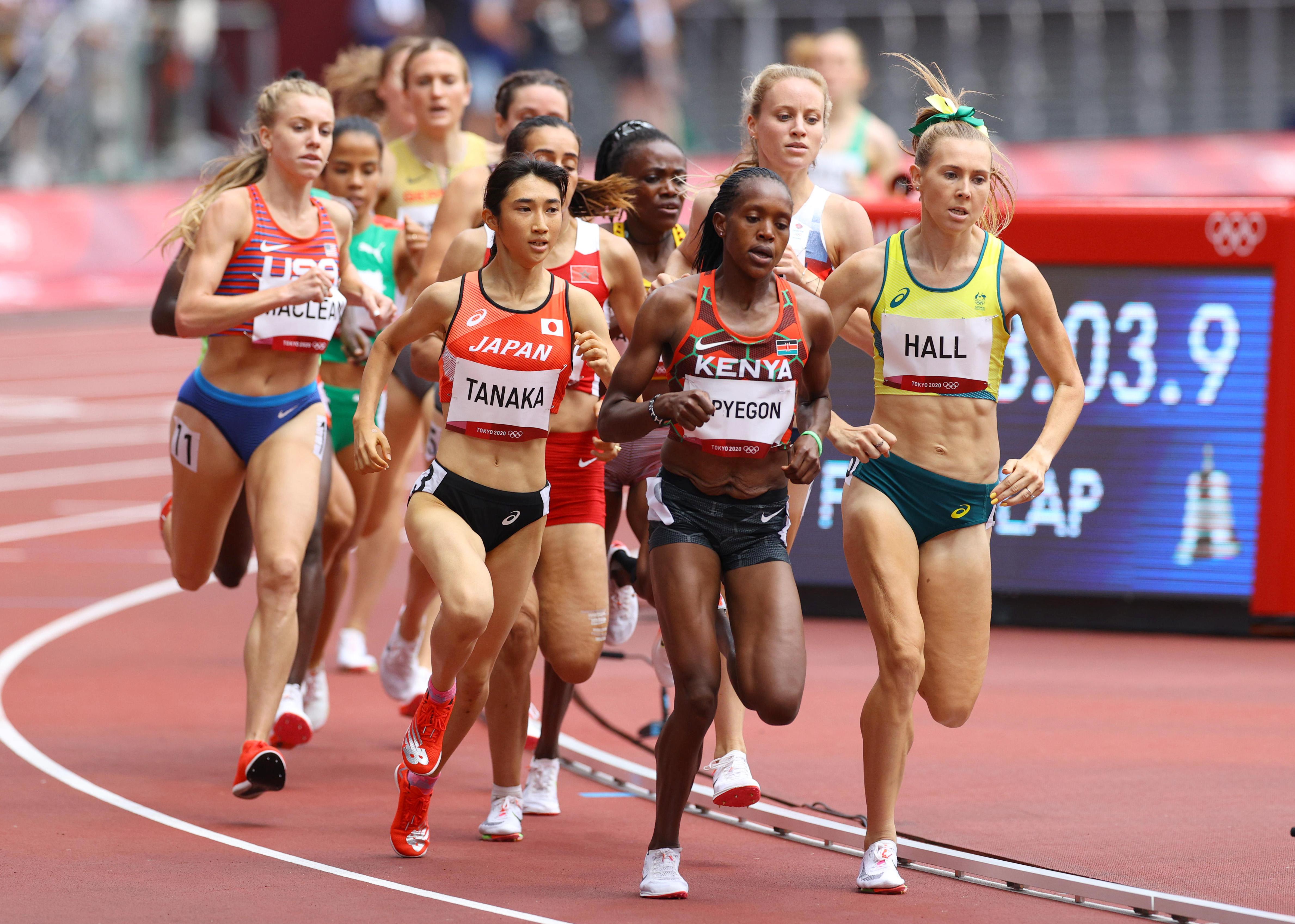【東京五輪2020 陸上競技 女子1500メートル】<予選>日本記録で予選を通過した田中希実=2日、国立競技場(桐山弘太撮影)