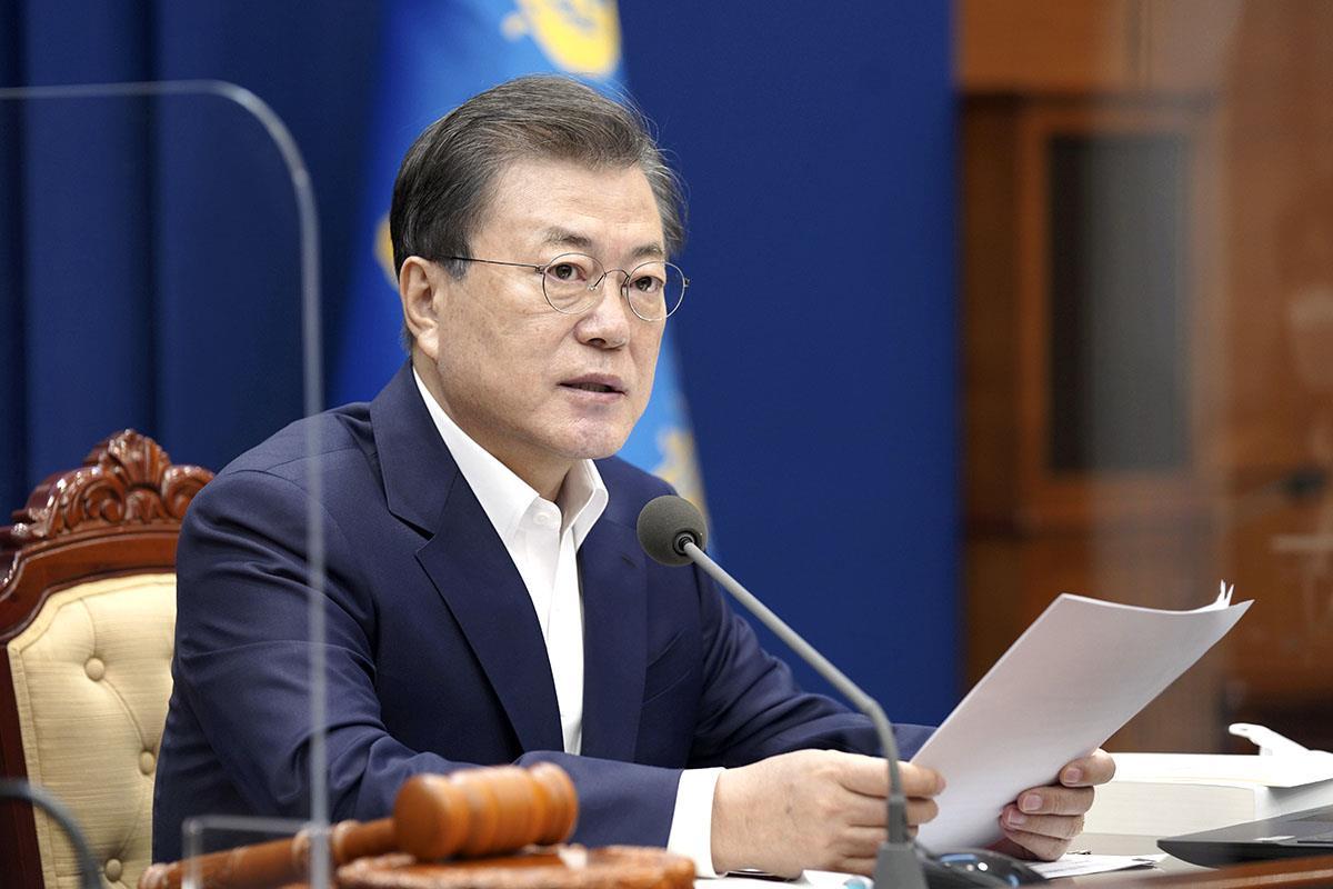 韓国の文在寅大統領=ソウル(韓国大統領府提供・共同)