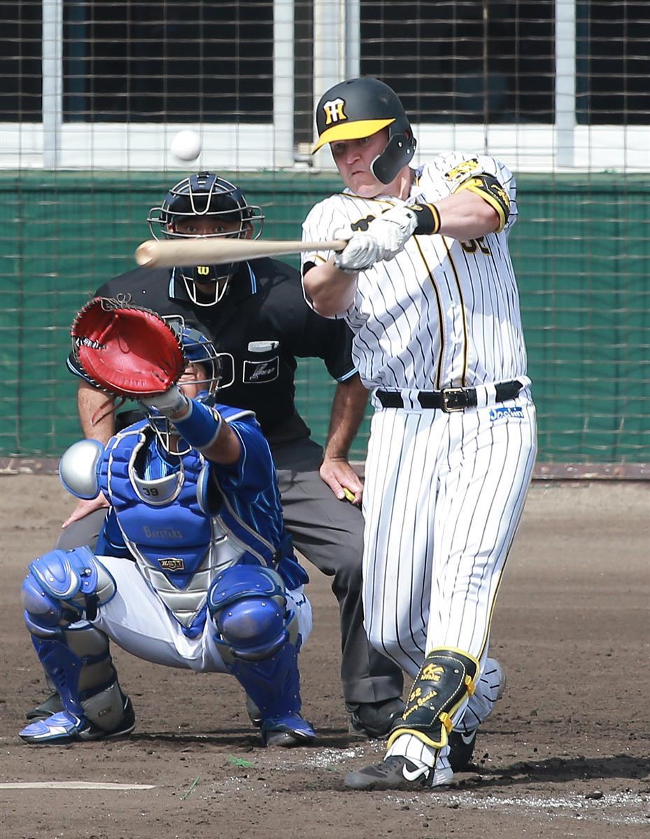 四回に二塁打を放ったサンズ。打撃も絶好調や(撮影・宮沢宗士郎)