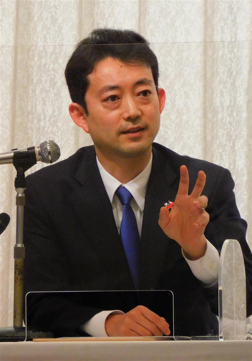 知事選での政策を発表する熊谷俊人・千葉市長=20日、千葉市中央区(高橋寛次撮影)
